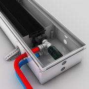Podłączenie z głowicą termostatyczną w korytku grzejnika